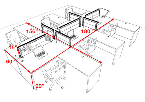 Six Person L Shape Modern Aluminum Organizer Divider Office Workstation Desk Set, #OT-SUL-FPS35