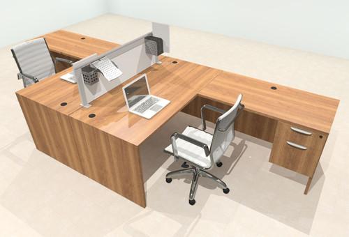 Two Person L Shape Modern Aluminum Organizer Divider Office Workstation Desk Set, #OT-SUL-FPS37