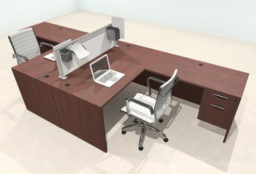 Two Person L Shape Modern Aluminum Organizer Divider Office Workstation Desk Set, #OT-SUL-FPS38