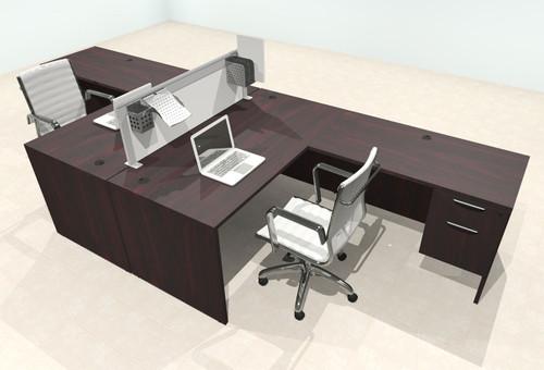 Two Person L Shape Modern Aluminum Organizer Divider Office Workstation Desk Set, #OT-SUL-FPS39