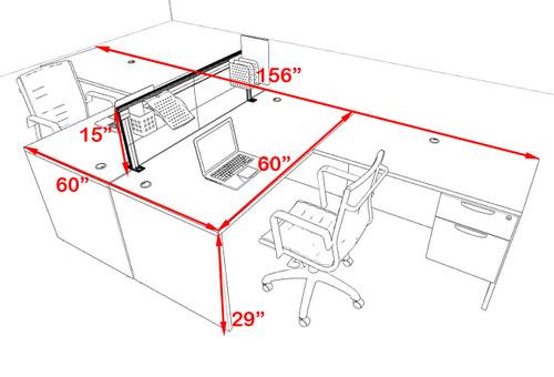 Two Person L Shape Modern Aluminum Organizer Divider Office Workstation Desk Set, #OT-SUL-FPS40