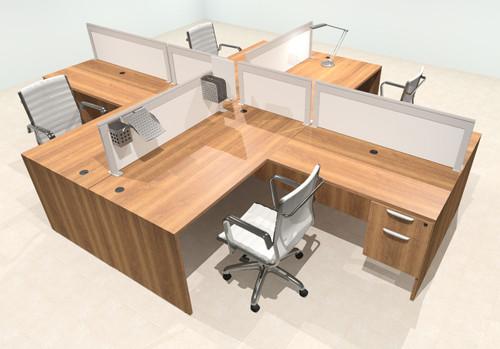 Four Person L Shape Modern Aluminum Organizer Divider Office Workstation Desk Set, #OT-SUL-FPS41