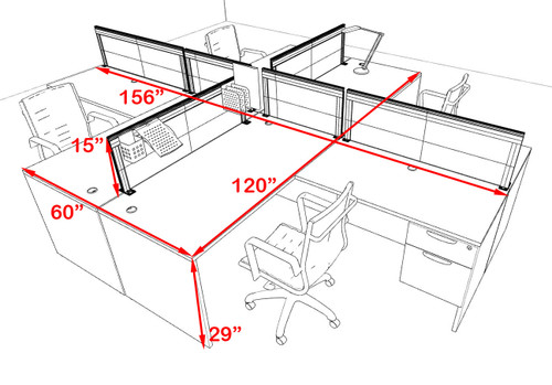 Four Person L Shape Modern Aluminum Organizer Divider Office Workstation Desk Set, #OT-SUL-FPS42