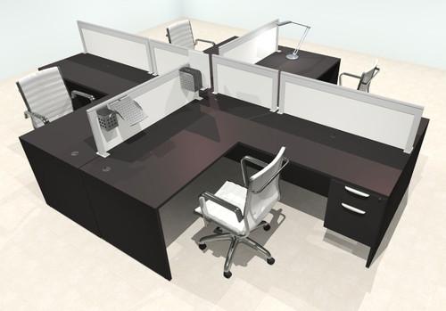 Four Person L Shape Modern Aluminum Organizer Divider Office Workstation Desk Set, #OT-SUL-FPS44