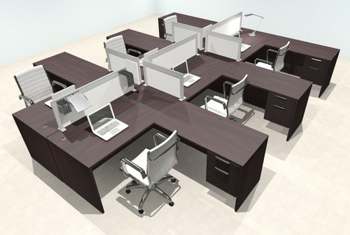 Six Person L Shape Modern Aluminum Organizer Divider Office Workstation Desk Set, #OT-SUL-FPS48