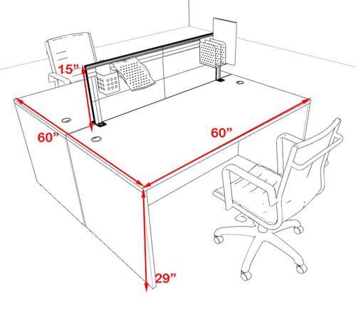 Two Person Modern Aluminum Organizer Divider Office Workstation Desk Set, #OT-SUL-FPS49