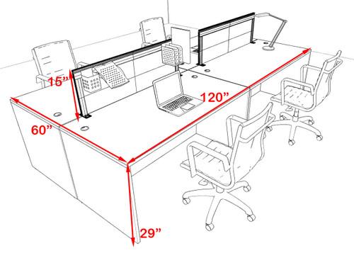 Four Person Modern Aluminum Organizer Divider Office Workstation Desk Set, #OT-SUL-FPS50