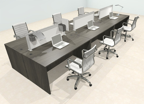 Six Person Modern Aluminum Organizer Divider Office Workstation Desk Set, #OT-SUL-FPS51