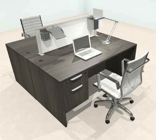 Two Person Modern Aluminum Organizer Divider Office Workstation Desk Set, #OT-SUL-FPS52