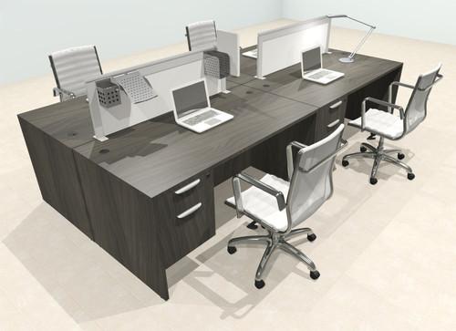 Four Person Modern Aluminum Organizer Divider Office Workstation Desk Set, #OT-SUL-FPS53
