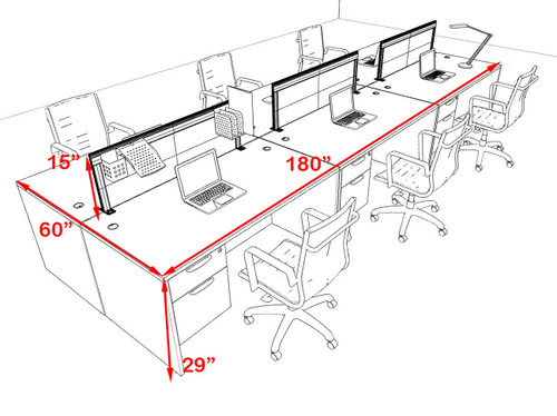 Six Person Modern Aluminum Organizer Divider Office Workstation Desk Set, #OT-SUL-FPS54