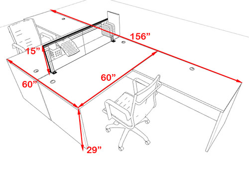 Two Person L Shape Modern Aluminum Organizer Divider Office Workstation Desk Set, #OT-SUL-FPS55
