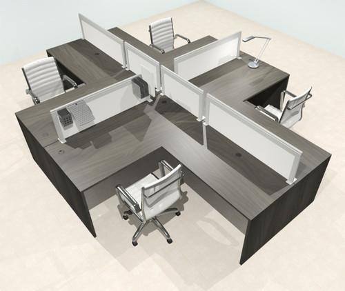 Four Person L Shape Modern Aluminum Organizer Divider Office Workstation Desk Set, #OT-SUL-FPS56