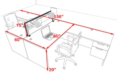 Two Person L Shape Modern Aluminum Organizer Divider Office Workstation Desk Set, #OT-SUL-FPS58