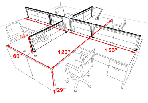 Four Person L Shape Modern Aluminum Organizer Divider Office Workstation Desk Set, #OT-SUL-FPS59