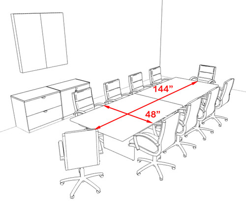 Modern Rectangular 12' Conference table, #OT-SUL-C31
