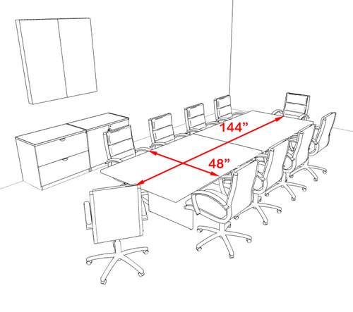 Modern Rectangular 12' Conference table, #OT-SUL-C32