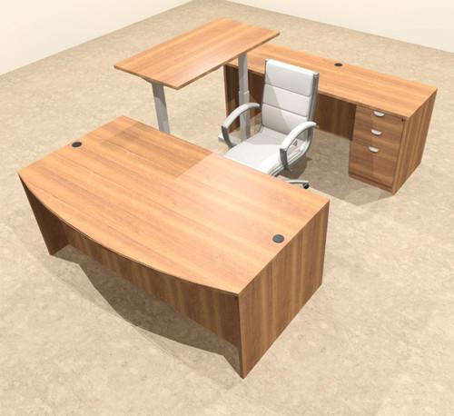 4PC U Shape Modern Executive Office Desk w/Height Adjustable Desk, OT-SUL-UH1