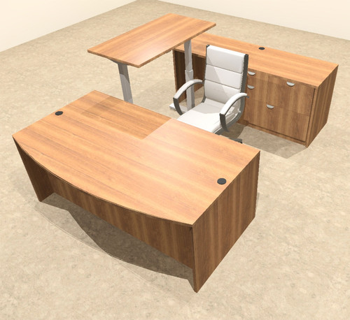 4PC U Shape Modern Executive Office Desk w/Height Adjustable Desk, OT-SUL-UH5