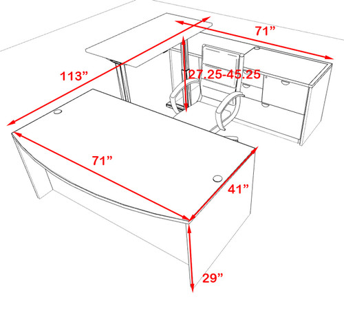 4PC U Shape Modern Executive Office Desk w/Height Adjustable Desk, OT-SUL-UH6