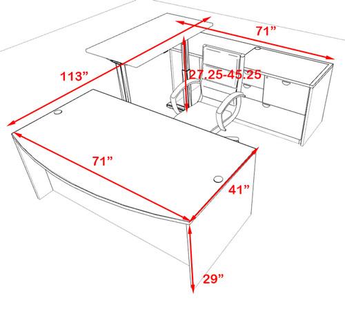 4PC U Shape Modern Executive Office Desk w/Height Adjustable Desk, OT-SUL-UH8