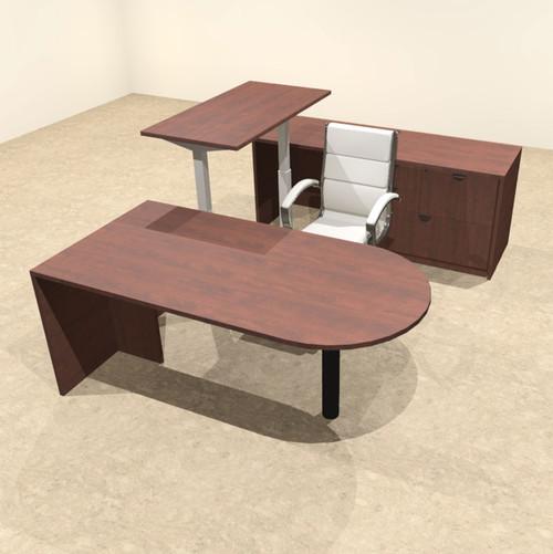 4PC U Shape Modern Executive Office Desk w/Height Adjustable Desk, OT-SUL-UH10