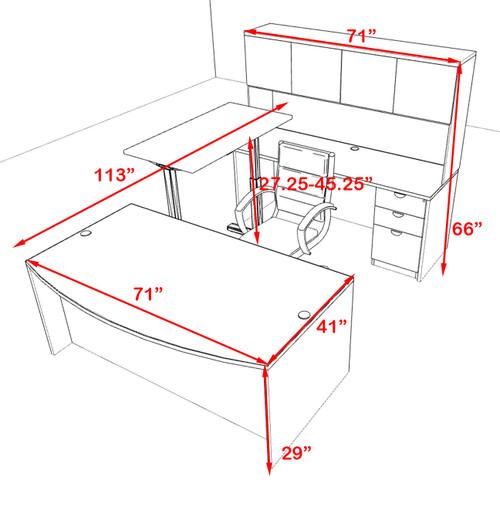 5PC U Shape Modern Executive Office Desk w/Height Adjustable Desk, OT-SUL-UH13