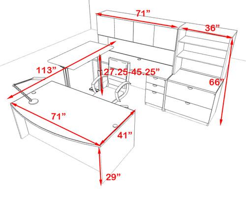 7PC U Shape Modern Executive Office Desk w/Height Adjustable Desk, OT-SUL-UH18