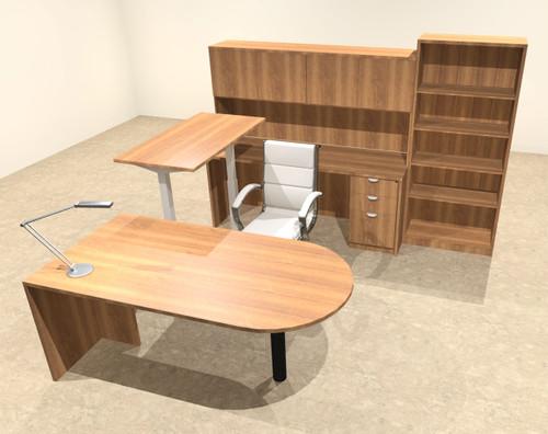 6PC U Shape Modern Executive Office Desk w/Height Adjustable Desk, OT-SUL-UH25