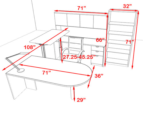 6PC U Shape Modern Executive Office Desk w/Height Adjustable Desk, OT-SUL-UH27