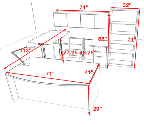 6PC U Shape Modern Executive Office Desk w/Height Adjustable Desk, OT-SUL-UH30