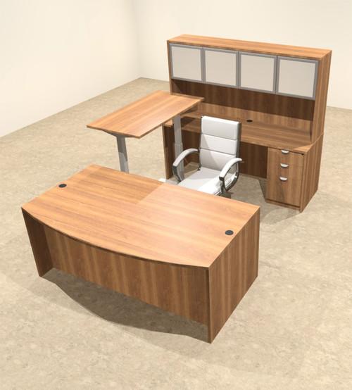 5PC U Shape Modern Executive Office Desk w/Height Adjustable Desk, OT-SUL-UH37