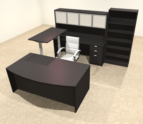 6PC U Shape Modern Executive Office Desk w/Height Adjustable Desk, OT-SUL-UH44