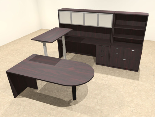 7PC U Shape Modern Executive Office Desk w/Height Adjustable Desk, OT-SUL-UH51