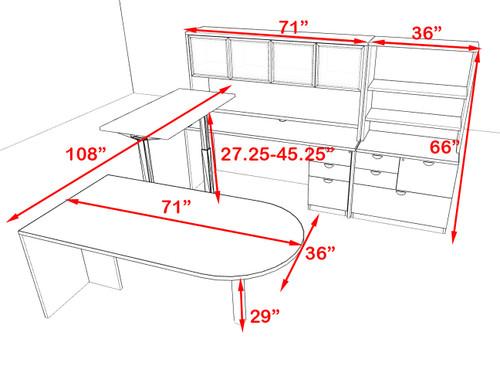 7PC U Shape Modern Executive Office Desk w/Height Adjustable Desk, OT-SUL-UH52