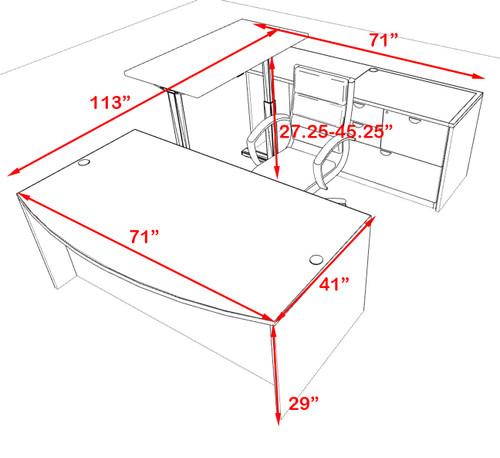 4PC U Shape Modern Executive Office Desk w/Height Adjustable Desk, OT-SUL-UH54