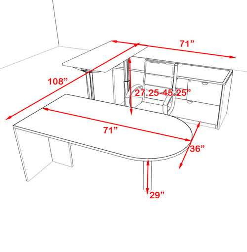 4PC U Shape Modern Executive Office Desk w/Height Adjustable Desk, OT-SUL-UH55