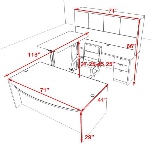 5PC U Shape Modern Executive Office Desk w/Height Adjustable Desk, OT-SUL-UH56