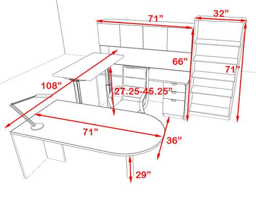 6PC U Shape Modern Executive Office Desk w/Height Adjustable Desk, OT-SUL-UH59