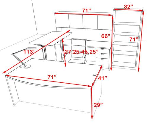 6PC U Shape Modern Executive Office Desk w/Height Adjustable Desk, OT-SUL-UH60