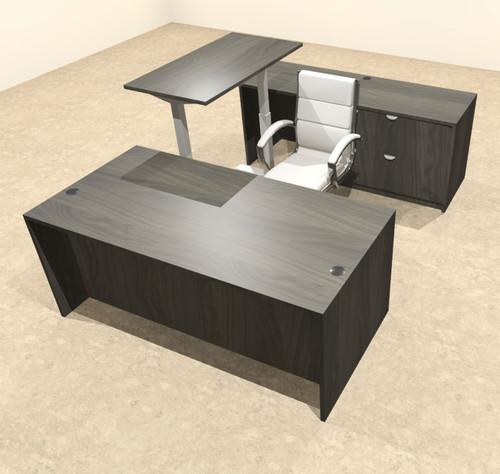 4PC U Shape Modern Executive Office Desk w/Height Adjustable Desk, OT-SUL-UH61