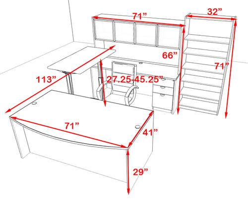 6PC U Shape Modern Executive Office Desk w/Height Adjustable Desk, OT-SUL-UH63