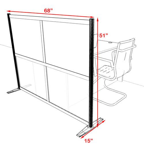One Loft Modern Office Home Aluminum Frame Partition / Divider / Sneeze Guard, #UT-ALU-P1-B