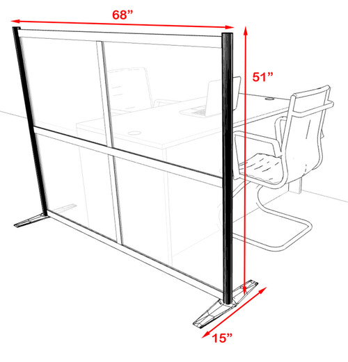 One Loft Modern Office Home Aluminum Frame Partition / Divider / Sneeze Guard, #UT-ALU-P10