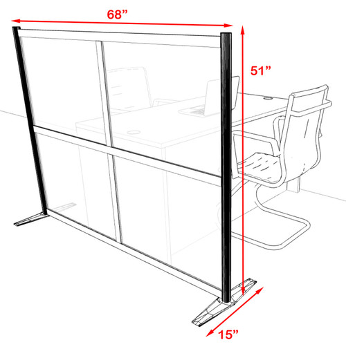 One Loft Modern Office Home Aluminum Frame Partition / Divider / Sneeze Guard, #UT-ALU-P12