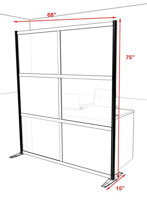 One Loft Modern Office Home Aluminum Frame Partition / Divider / Sneeze Guard, #UT-ALU-P14-A