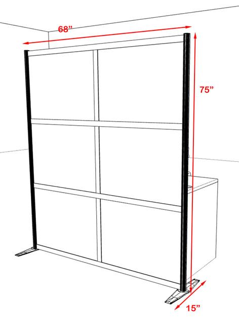 One Loft Modern Office Home Aluminum Frame Partition / Divider / Sneeze Guard, #UT-ALU-P17-C