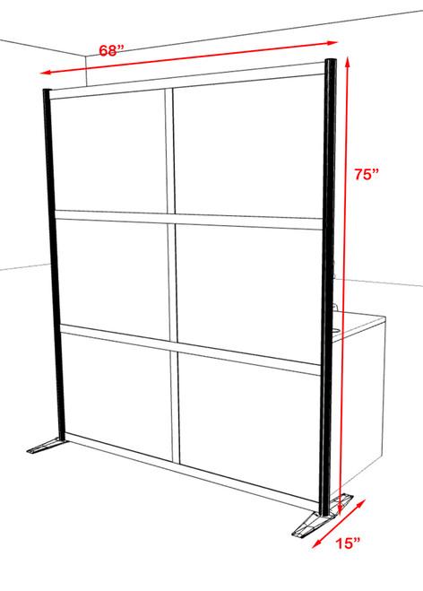 One Loft Modern Office Home Aluminum Frame Partition / Divider / Sneeze Guard, #UT-ALU-P18-B