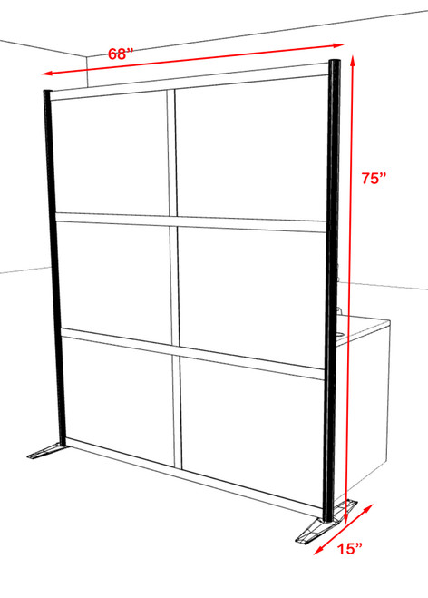 One Loft Modern Office Home Aluminum Frame Partition / Divider / Sneeze Guard, #UT-ALU-P19-C
