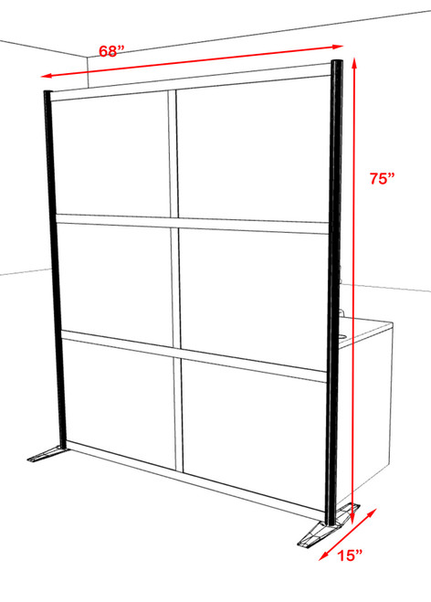 One Loft Modern Office Home Aluminum Frame Partition / Divider / Sneeze Guard, #UT-ALU-P20